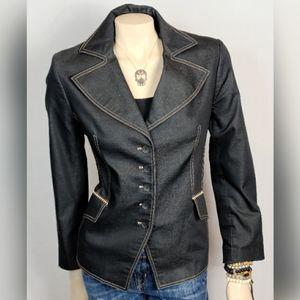 Un Deux Troi Black Tailored Blazer SZ 12
